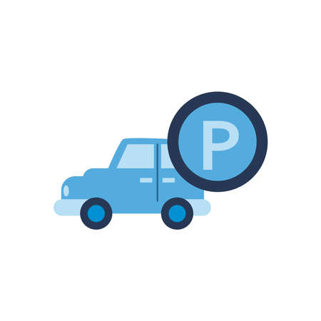 parking road sign button and car flat style icon design, Park and transportation theme Vector illustration Illustration