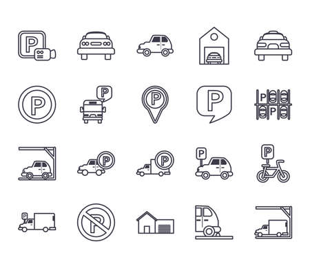 parking line style icon set design, Park and transportation theme Vector illustration