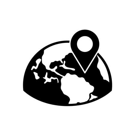 half earth planet with location pin icon over white background, silhouette style, vector illustration
