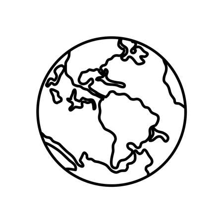 earth planet icon over white background, line style, vector illustration