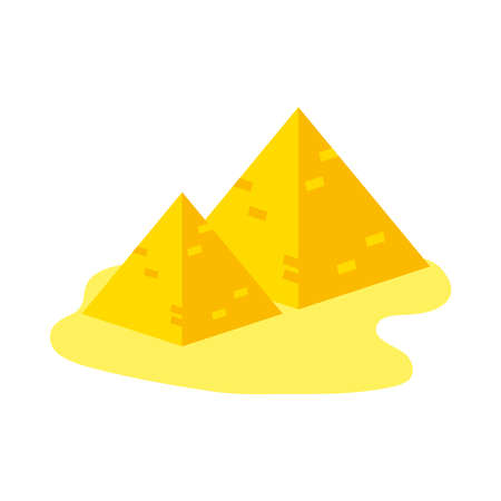 egyptian pyramids icon over white background, flat style, vector illustration