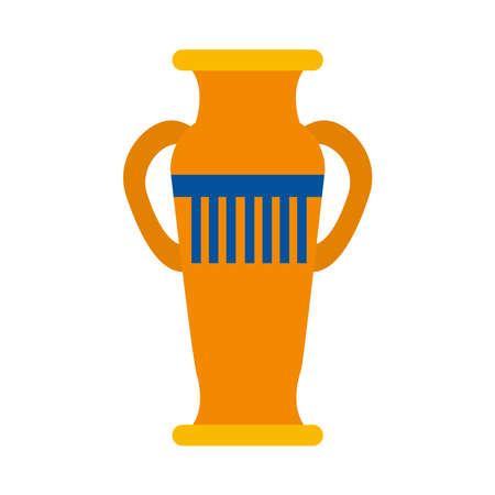 decorative egyptian vase icon over white background, flat style, vector illustration