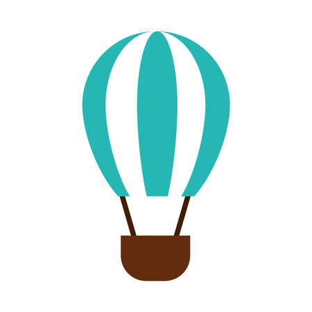 hot air balloon icon over white background, flat style, vector illustration Vetores
