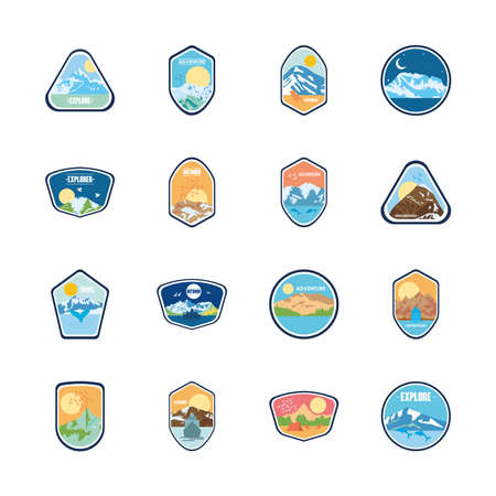 mountains and explorer badges icon set over white background, flat style, vector illustration