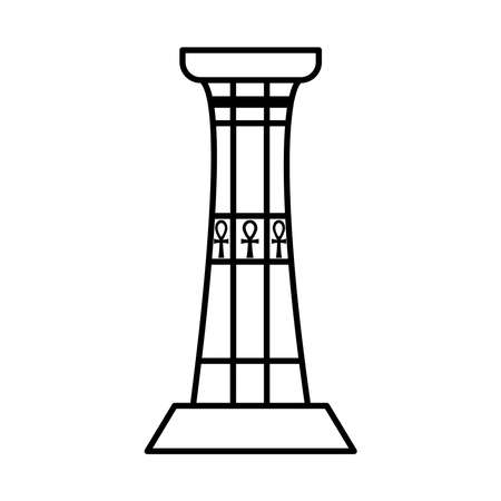 ancient egyptian column with ankh symbols over white background, line style, vector illustration