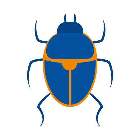 egyptian scarab icon over white background, flat style, vector illustration