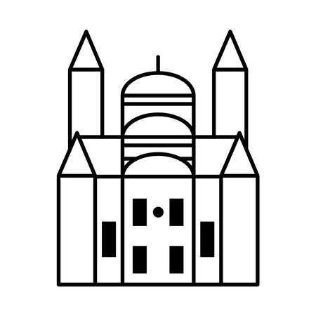 belgRade church icon over white background, line style, vector illustration