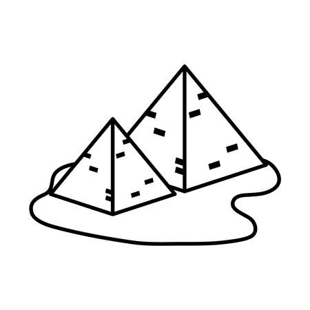 egyptian pyramids icon over white background, line style, vector illustration