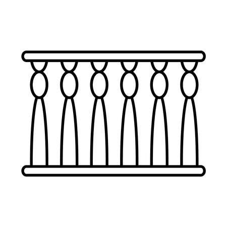 egyptian pillars icon over white background, line style, vector illustration