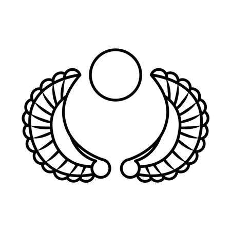 Egyptian ornament, Decoration Pharaoh over white background, line style, vector illustration