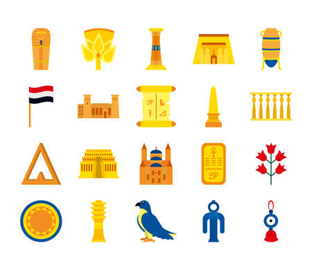 icon set of egypt symbols and buildings over white background, flat style, vector illustration