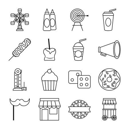target and fair icon set over white background, line style, vector illustration