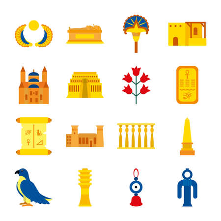 icon set of egypt flowers and symbols over white background, flat style, vector illustration