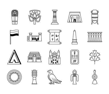 icon set of egypt symbols and buildings over white background, line style, vector illustration