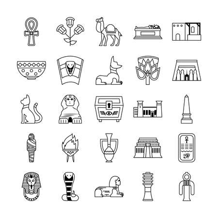 icon set of egypt symbols and egyptian cat over white background, line style, vector illustration