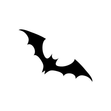 cartoon bat flying over white background, silhouette style, vector illustration