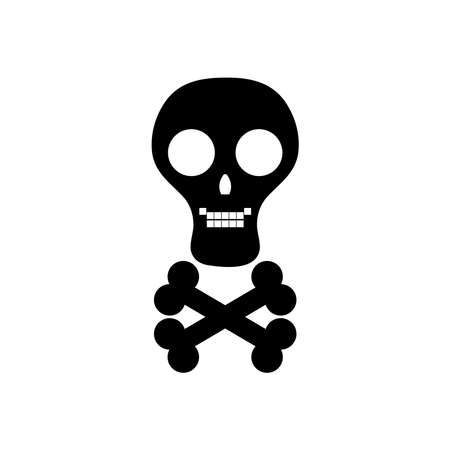 skul and crossed bones icon over white background, silhouette style, vector illustration
