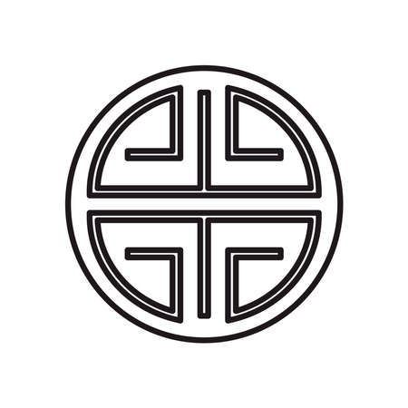 Chinese seal stamp line style icon design, China culture asia and oriental theme Vector illustration