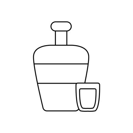mexican culture concept, tequila bottle and shot icon over white background, line style, vector illustration