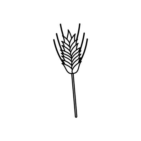 wheat ears icon over white background, line style, vector illustration 向量圖像