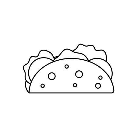 mexican taco icon over white background, line style, vector illustration Vektorgrafik