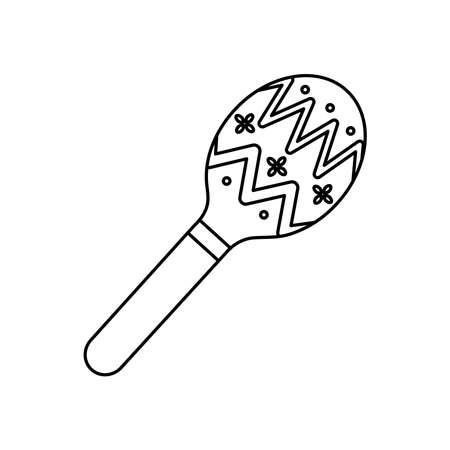 mexican culture concept, maracas icon over white background, line style, vector illustration