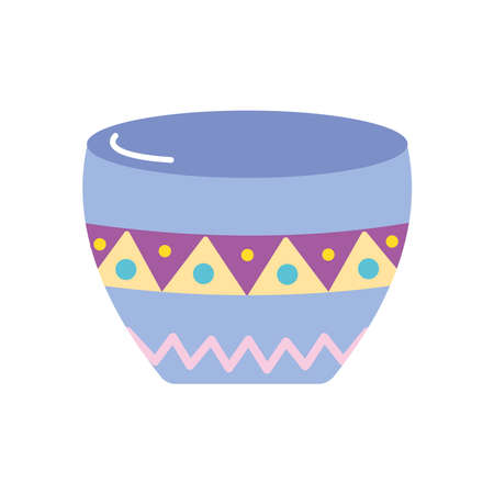 bowl with mexican design over white background, flat style, vector illustration Vektorgrafik