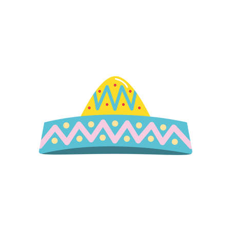 mexican culture concept, mexican hat icon over white background, flat style, vector illustration