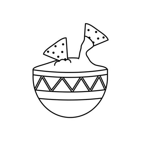 mexican culture concept, bowl and nachos icon over white background, line style, vector illustration