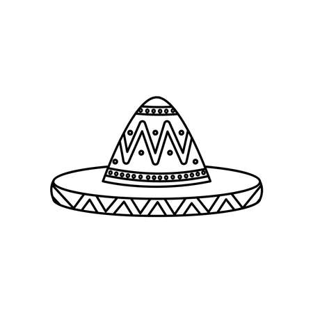 mexican hat icon over white background, line style, vector illustration