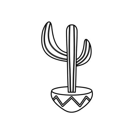 mexican culture concept, cactus in a pot icon over white background, line style, vector illustration Vektorgrafik