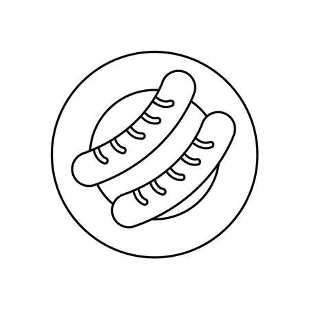 plate with sausages icon over white background, line style, vector illustration