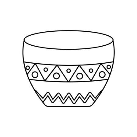 bowl with mexican design over white background, line style, vector illustration