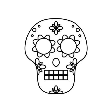 mexican culture concept, sugar skull icon over white background, line style, vector illustration