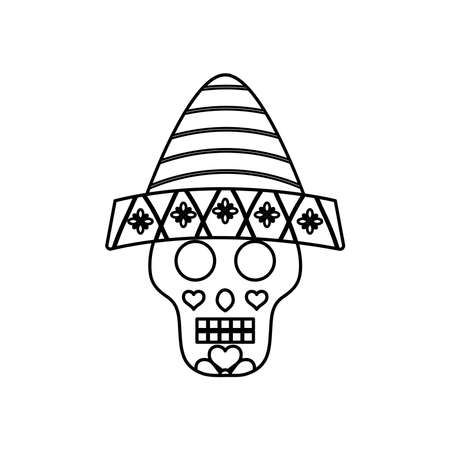 Cartoon Mexican sugar skull with hat over white background, line style, vector illustration
