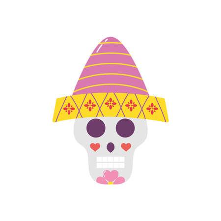 Cartoon Mexican sugar skull with hat over white background, flat style, vector illustration Vektorgrafik