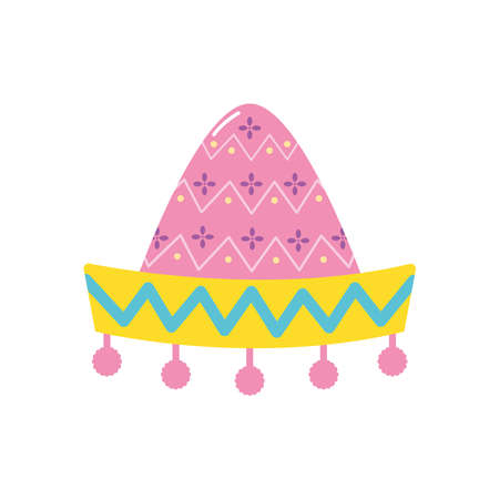 mexican hat icon over white background, flat style, vector illustration