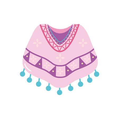 mexican culture concept, mexican poncho icon over white background, flat style, vector illustration
