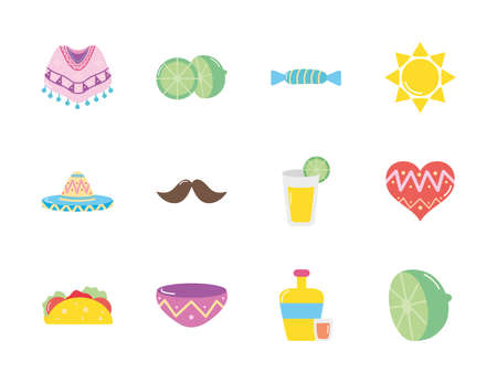 mustache and mexican culture icon set over white background, flat style, vector illustration