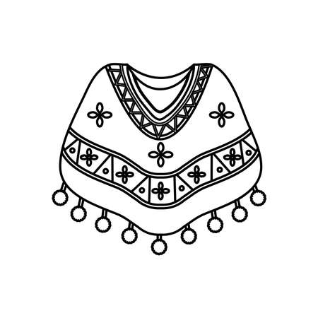 mexican culture concept, mexican poncho icon over white background, line style, vector illustration