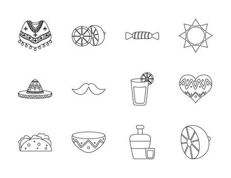 mustache and mexican culture icon set over white background, line style, vector illustration