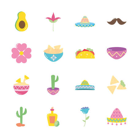 cactus and mexican culture icon set over white background, flat style, vector illustration