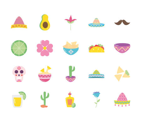 flowers and mexican culture icon set over white background, flat style, vector illustration