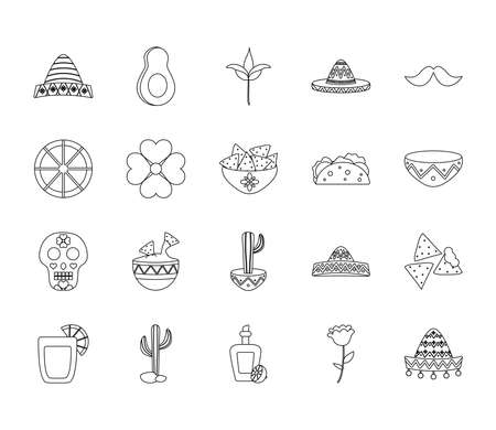 flowers and mexican culture icon set over white background, line style, vector illustration
