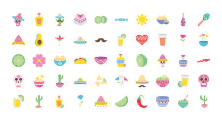 mexican culture icon set over white background, flat style, vector illustration