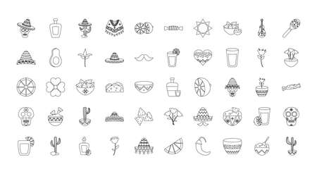mexican culture icon set over white background, line style, vector illustration
