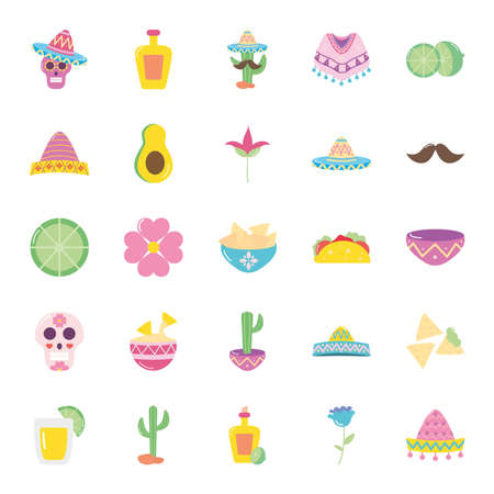 avocado and mexican culture icon set over white background, flat style, vector illustration