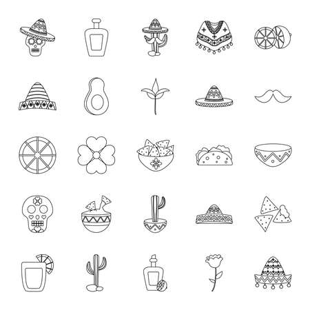 avocado and mexican culture icon set over white background, line style, vector illustration Vektorgrafik