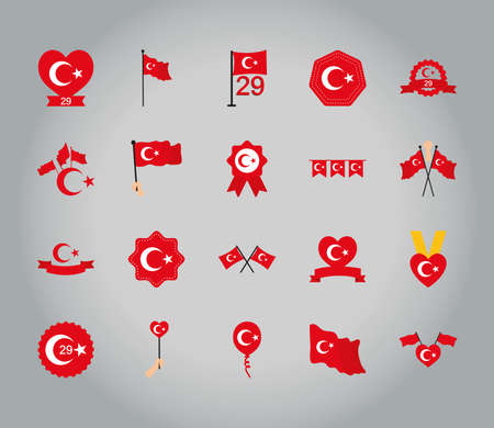 icon set of pennants and turkey republic over gray background, flat style, vector illustration