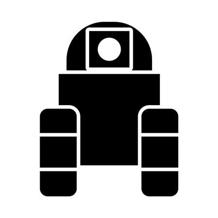 robotics concept, robot with wheels icon over white background, silhouette style, vector illustration